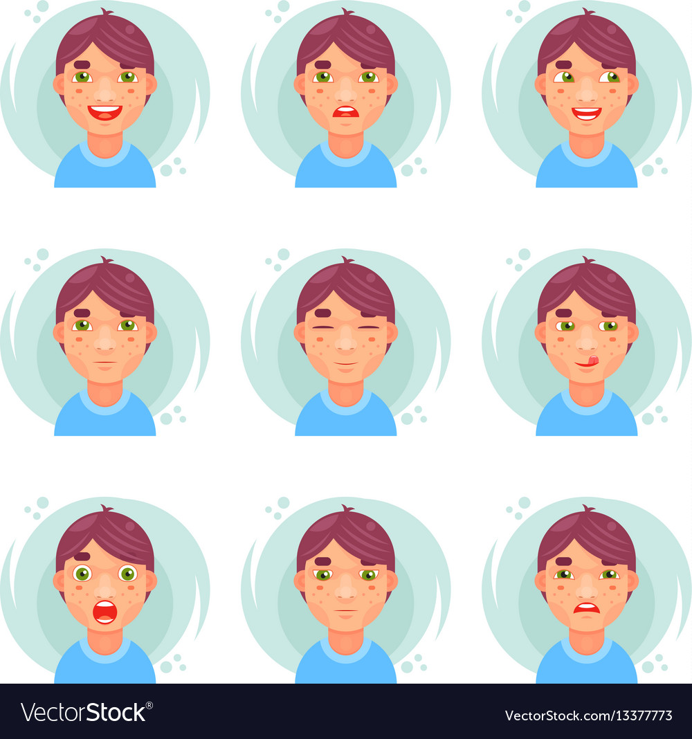Funny emotions cute boy avatar icons set flat