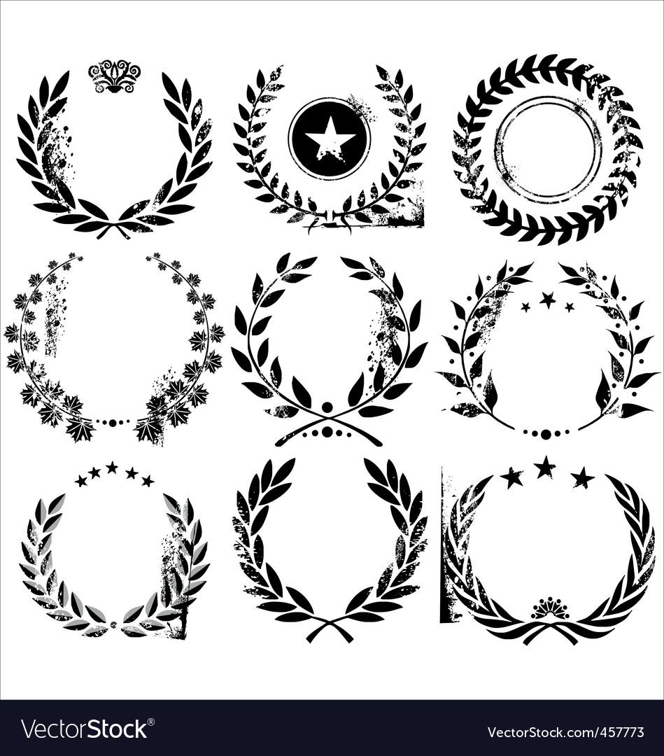 Grunge laurel wreaths