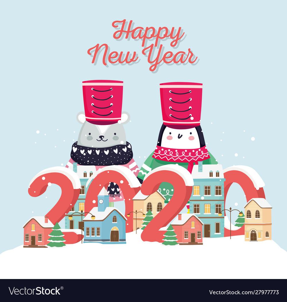 Happy new year 2020 celebration cute bear penguin