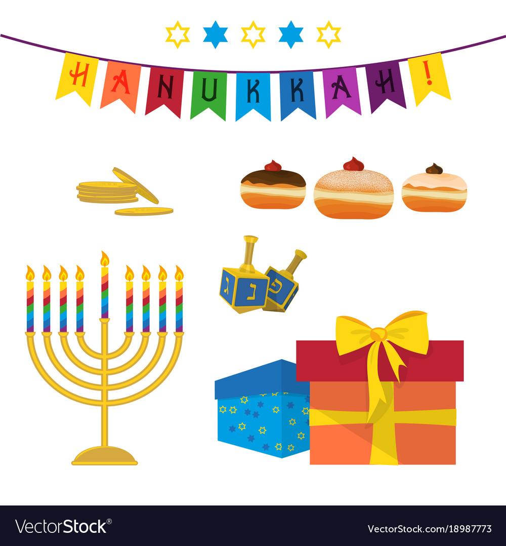 Jewish Holiday Of Hanukkah Symbols Set Royalty Free Vector