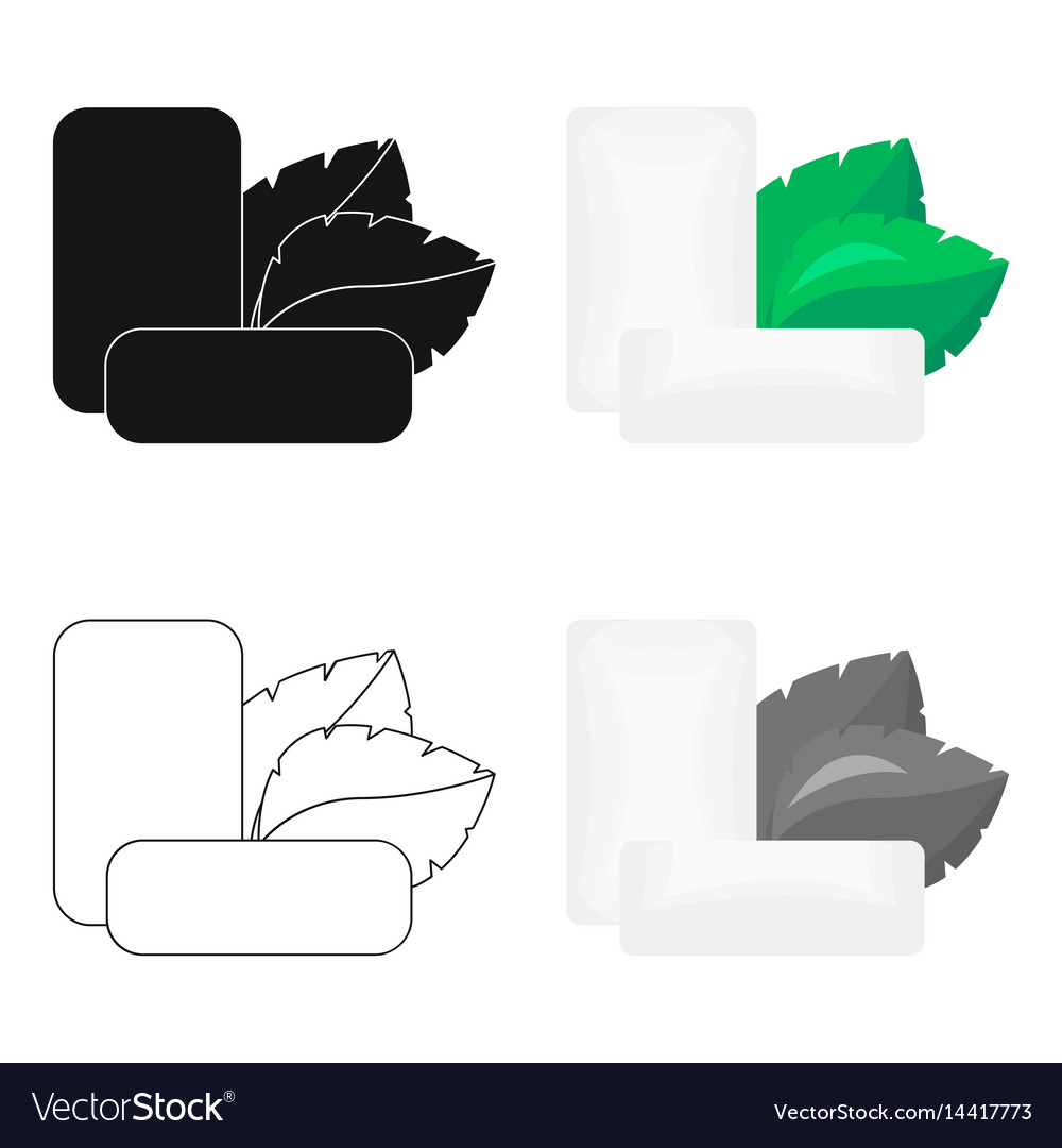 Mint chewing gum icon in cartoon style isolated on vector image