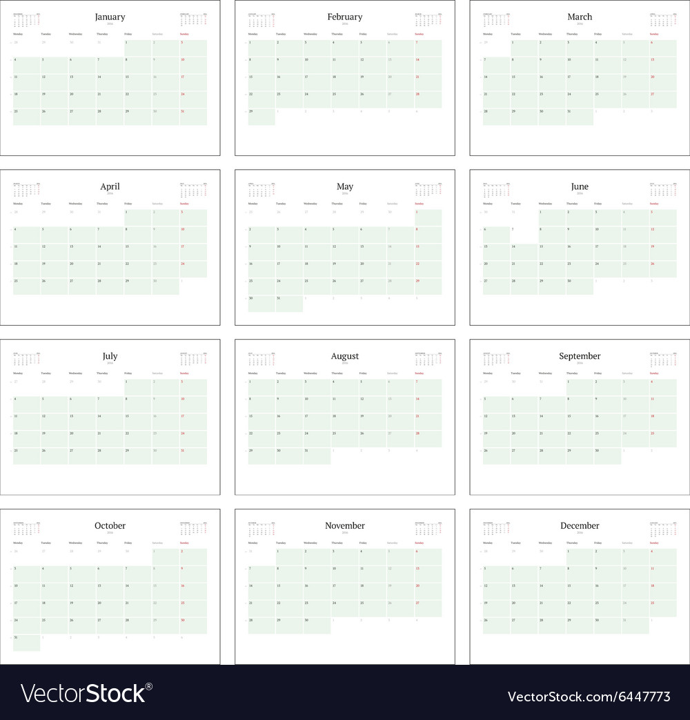 Monthly Calendar Planner For 2016 Print Template Vector Image
