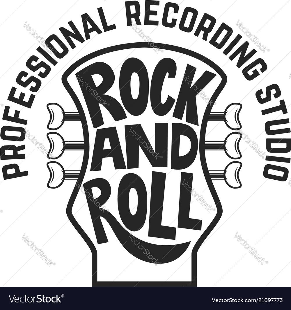 Recording studio guitar head with lettering rock