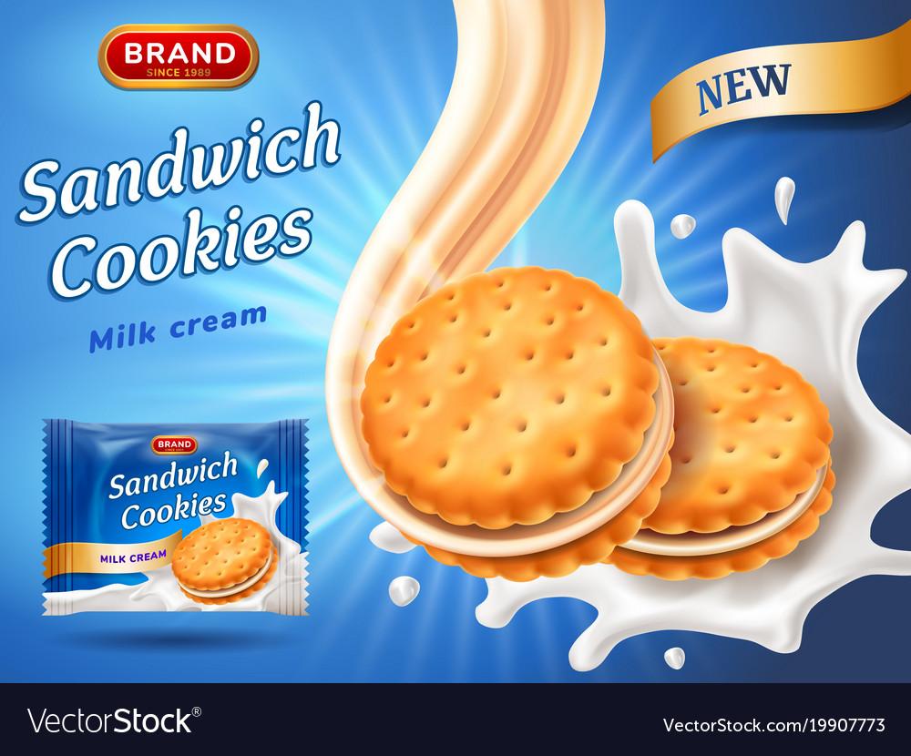 Sandwich cookies ads delicious vanilla cream flow
