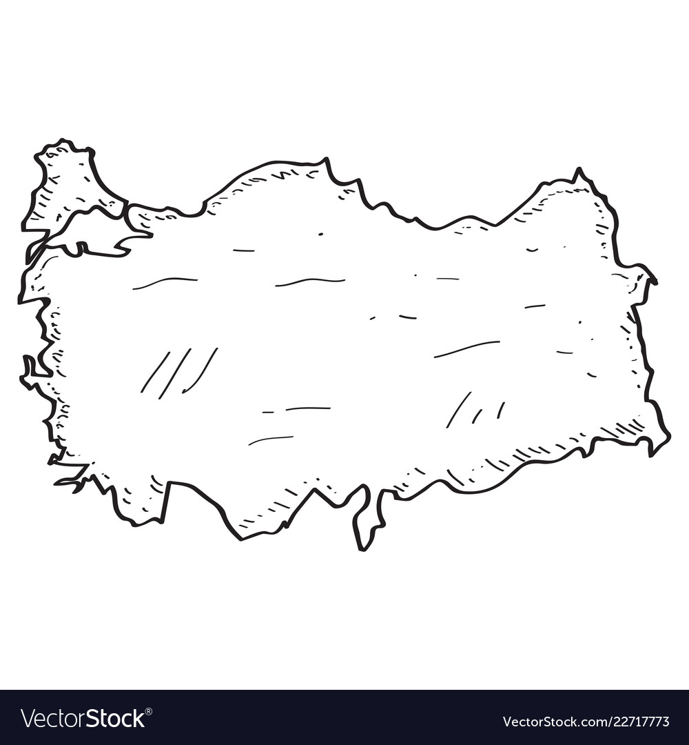 Sketch of a map of turkey Royalty Free Vector Image