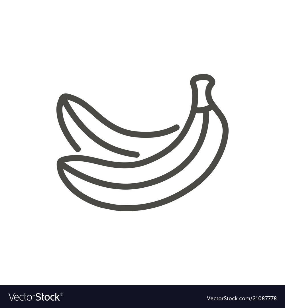 Banana icon outline fruit line banana sym