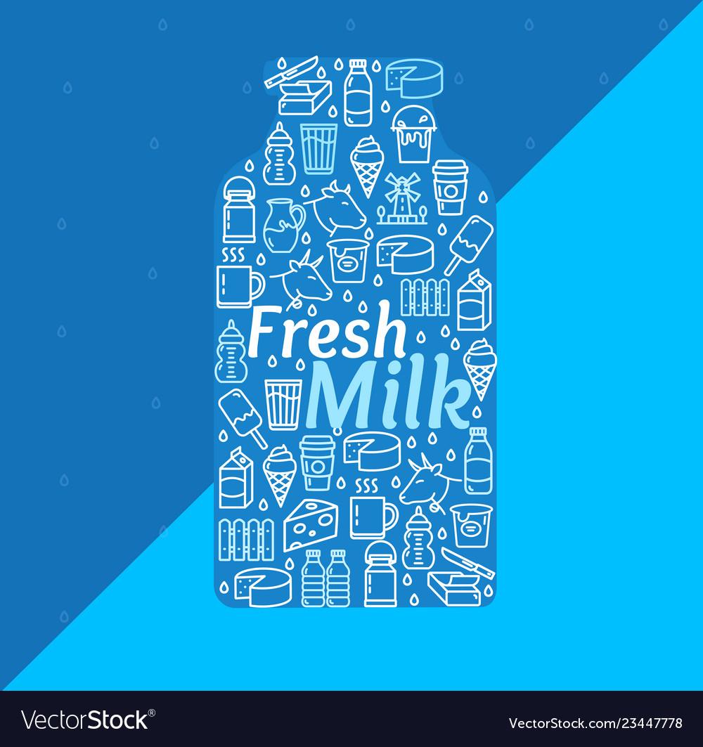 Cartoon fresh milk dairy products concept