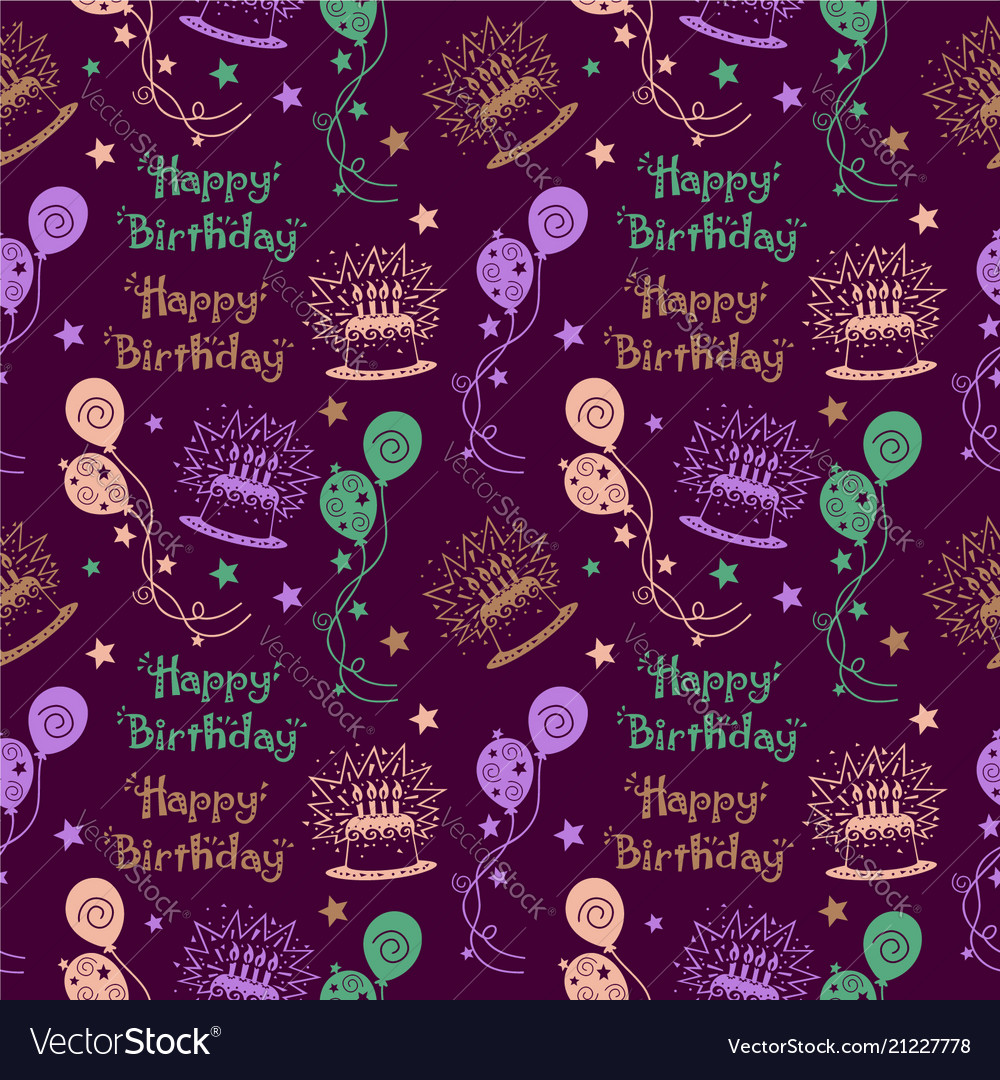 Happy birthday pattern background with pastel