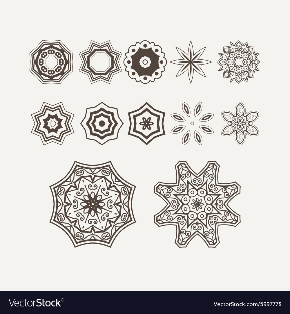 Intricate Henna Lines Painted Flowers Set