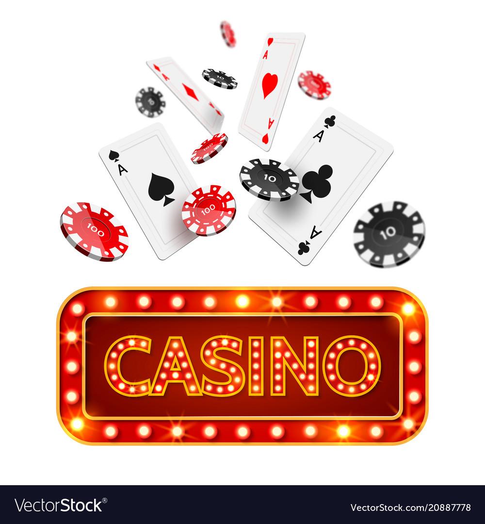Realistic poker casino poster vector image