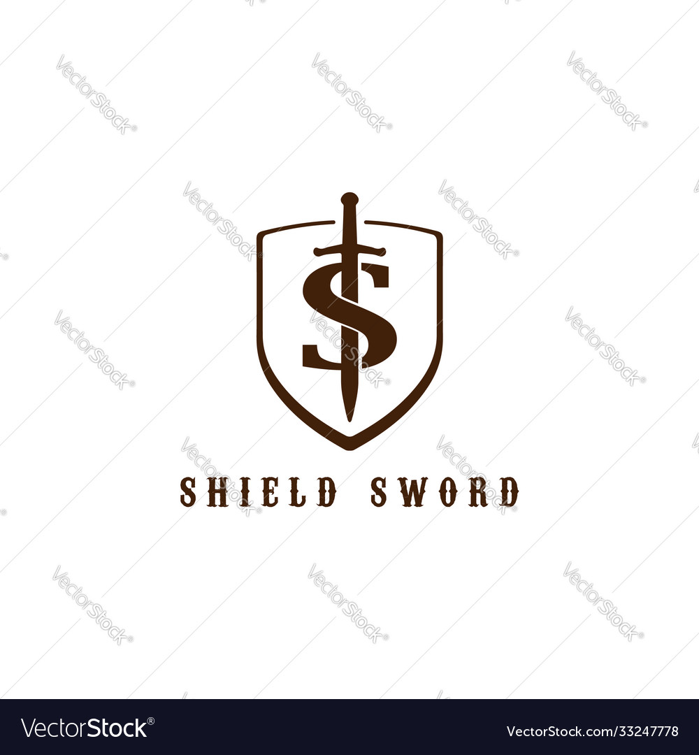 Retro vintage initial letter s sword shield logo