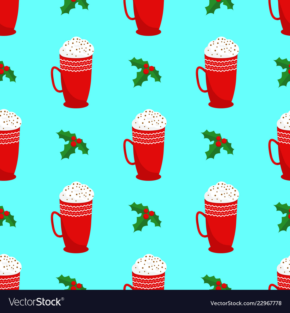 Seamless christmas and new year pattern holly