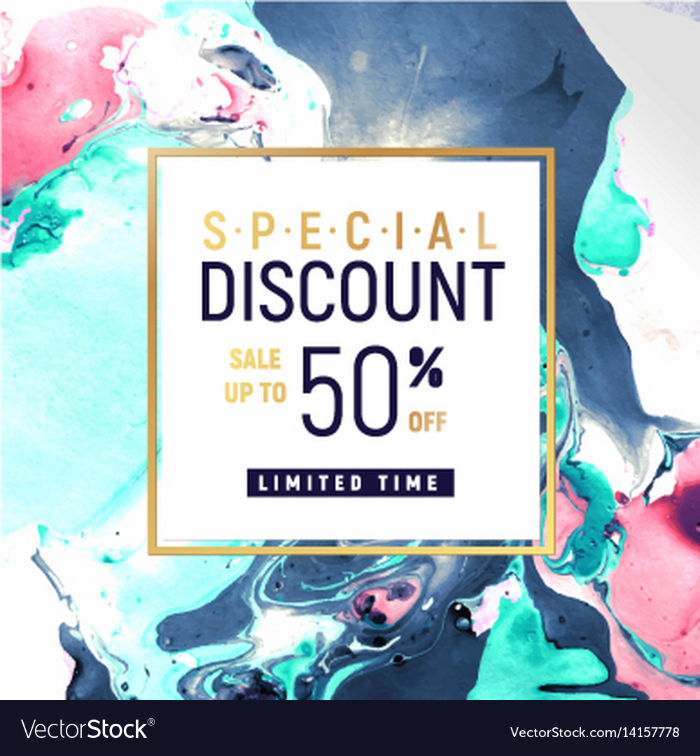 Special discount square banner template with vector image