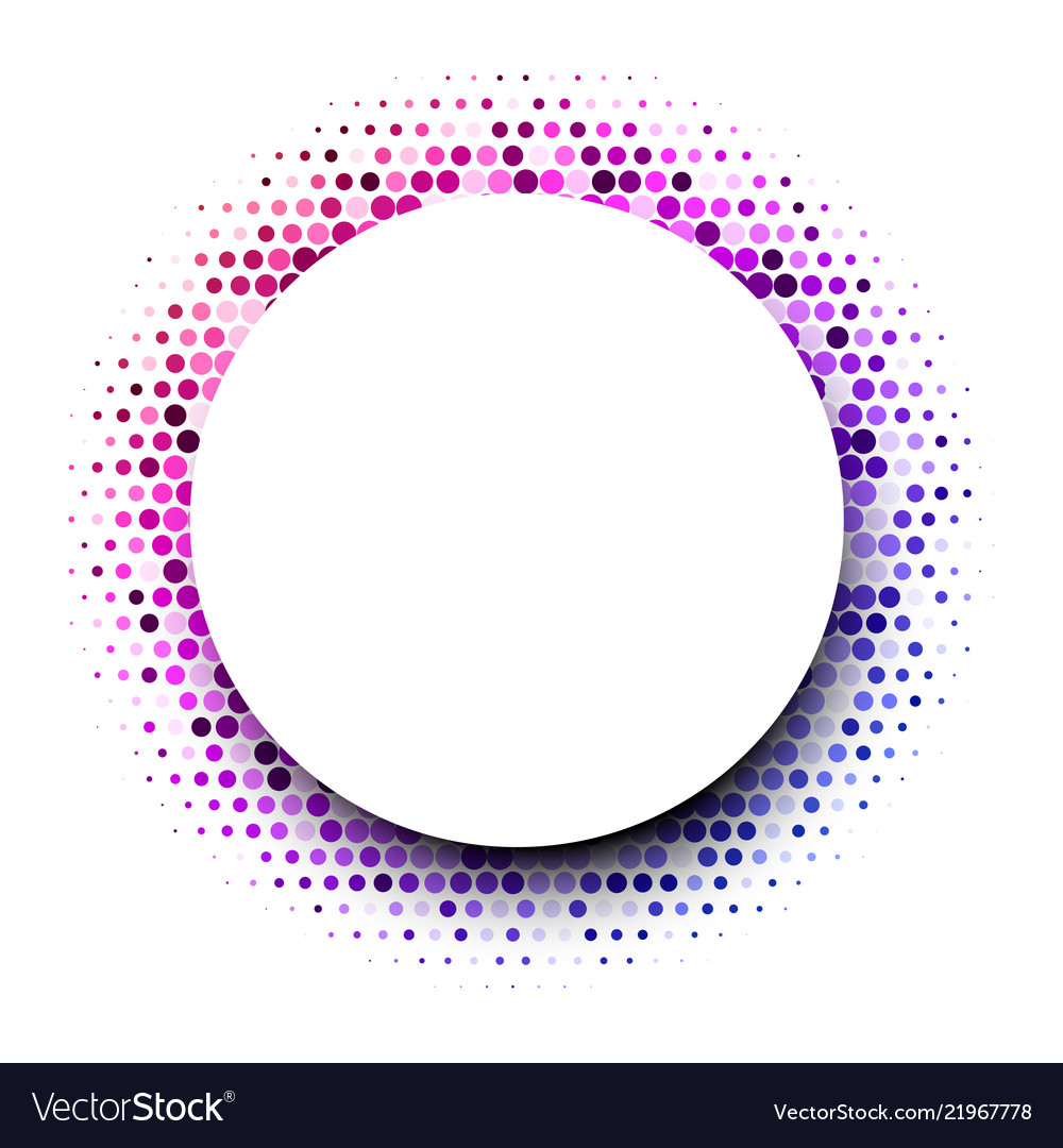 White round background with colorful dotted