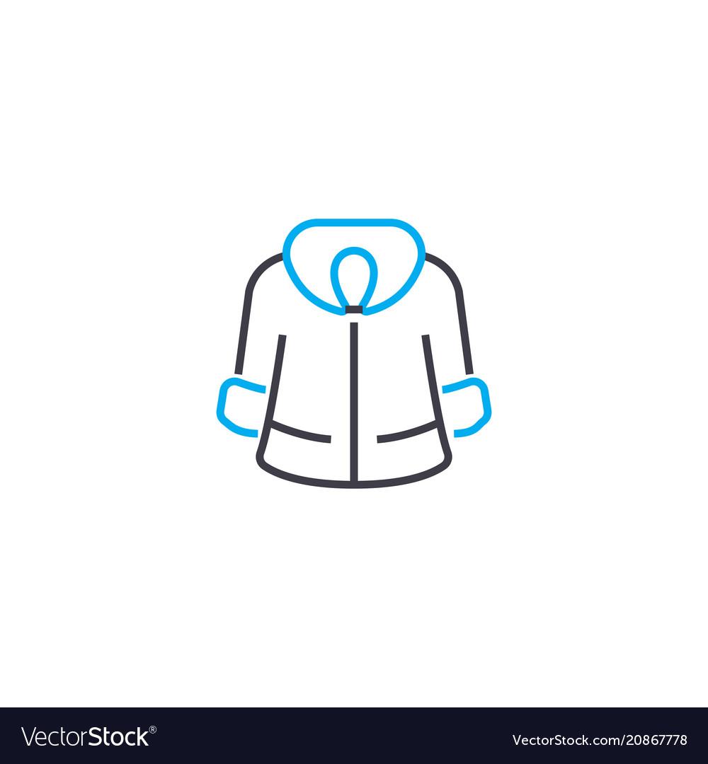 53c20298f04 Winter fur coat thin line stroke icon Royalty Free Vector