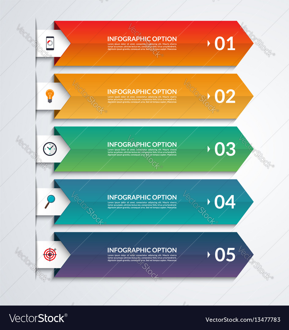arrow infographic template with 3 steps royalty free vector