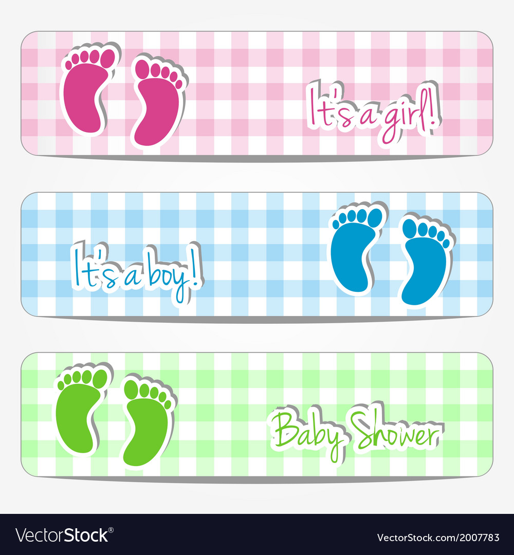 Baby Shower Banners With Footprints Royalty Free Vector