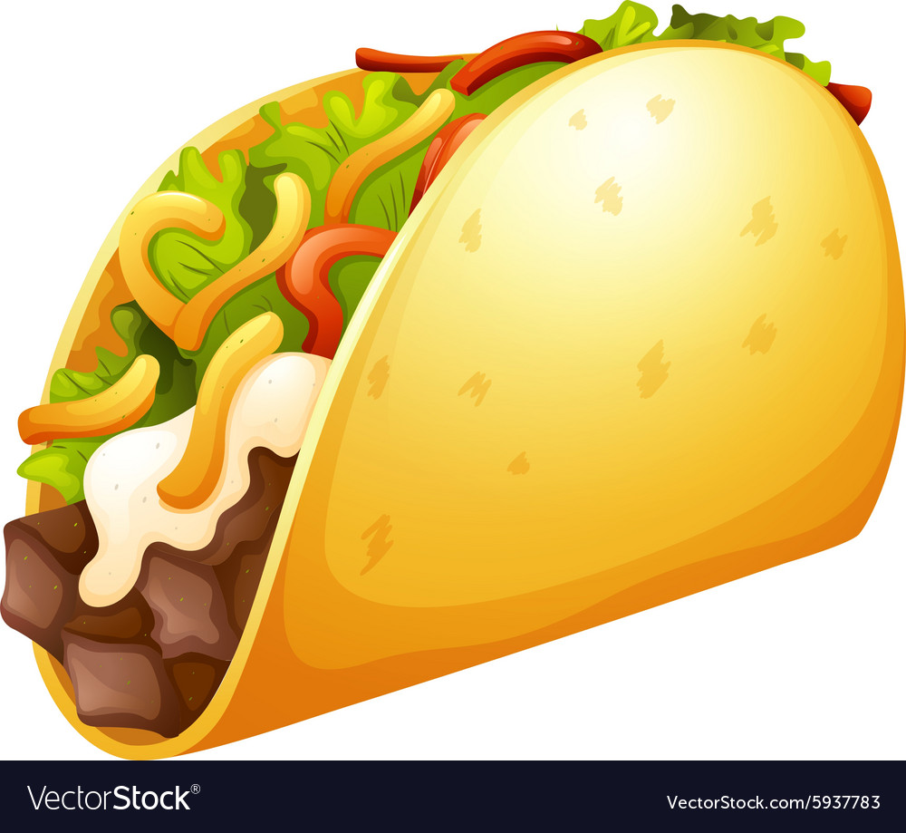 Beef taco with vegetables vector image