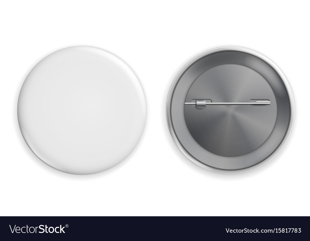 Blank white badge realistic vector image