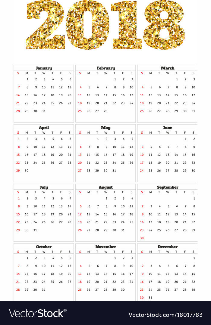 Calendar 2018 year simple style week starts from