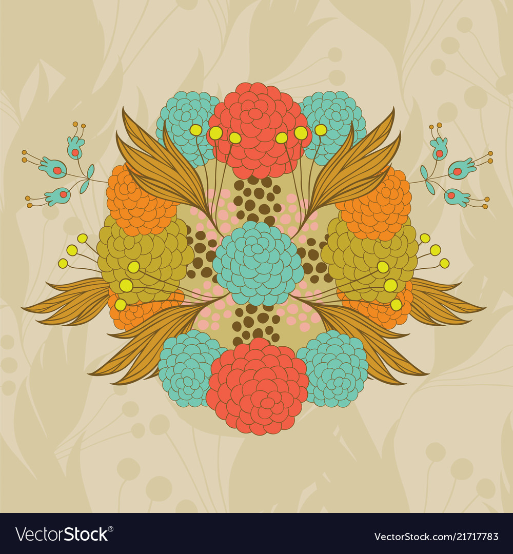 Colorful hand- drawn floral pattern