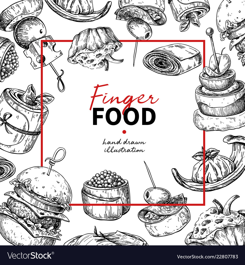 Finger food frame drawing catering service