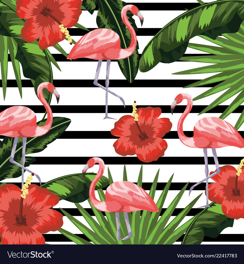 Flamingos with flowers and plants leaves