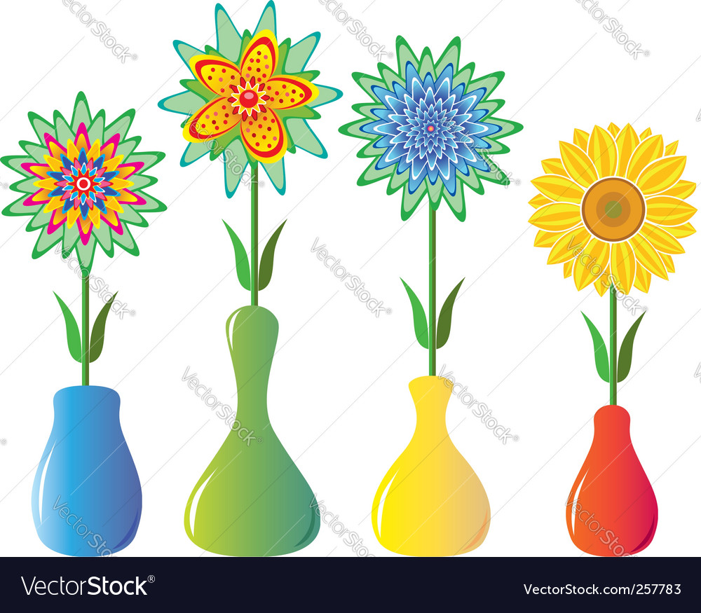 Flowers in pictures vases of