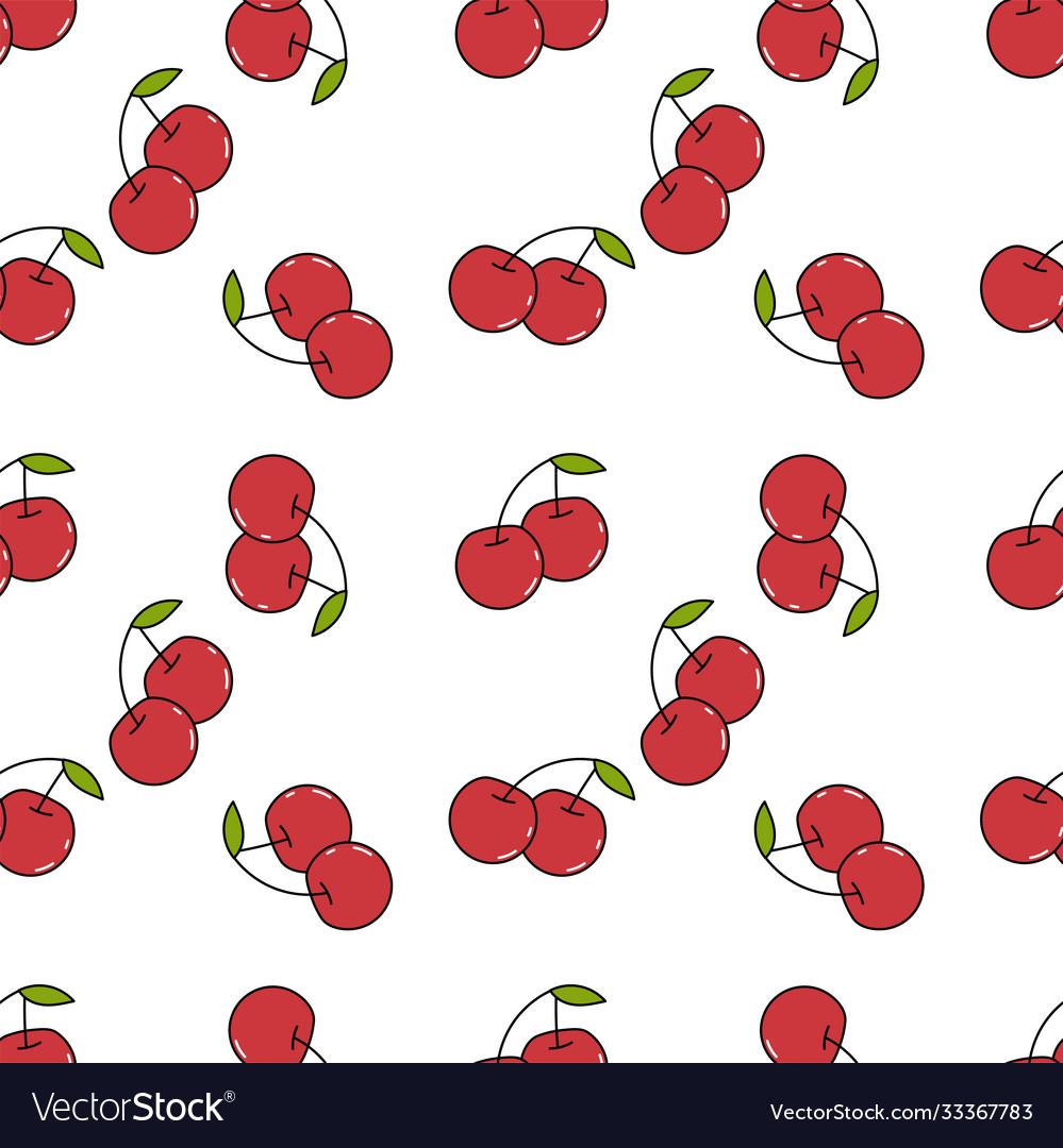 Fresh cherry hand drawn background doodle
