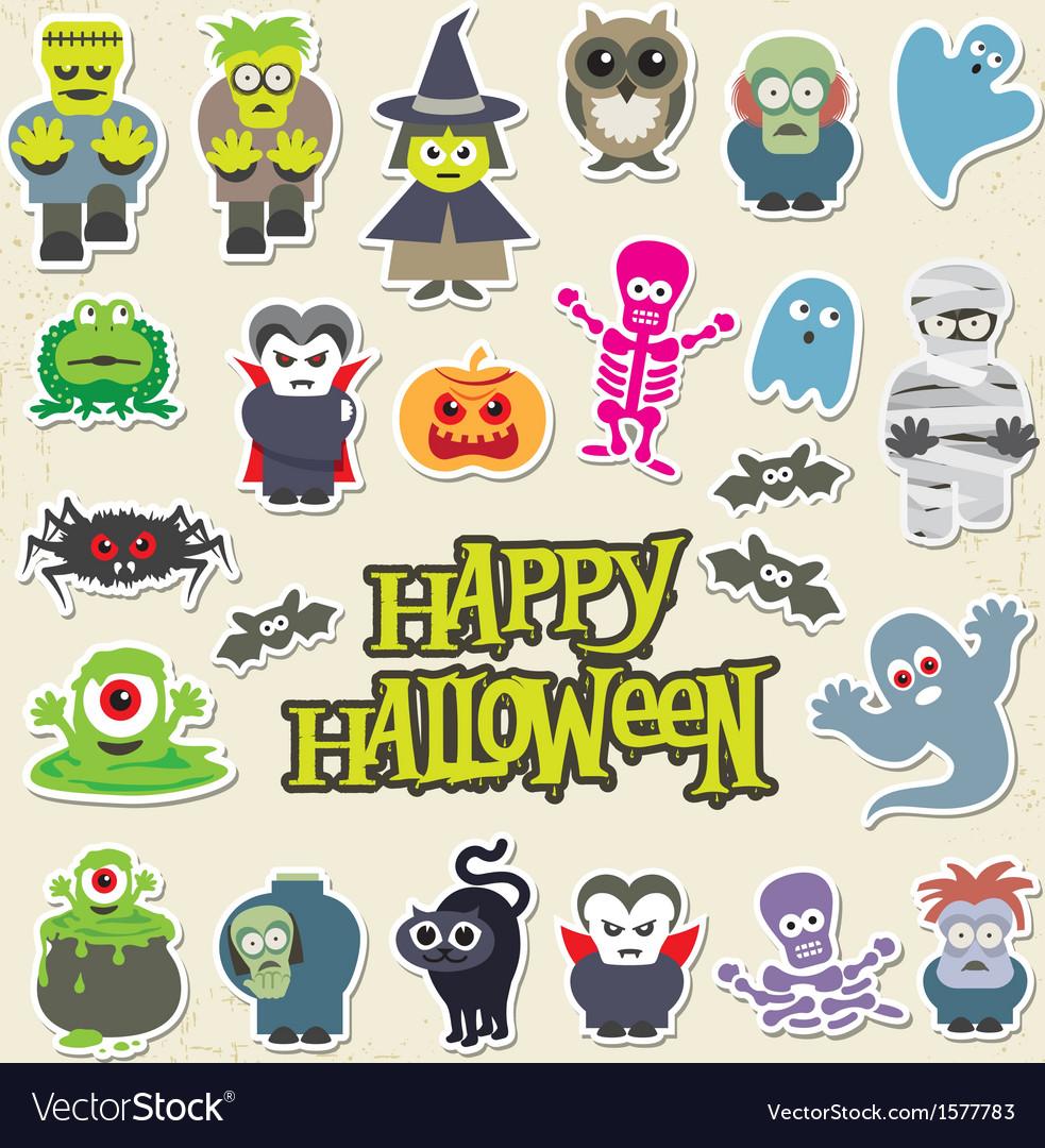 Halloween party icon design set vector image