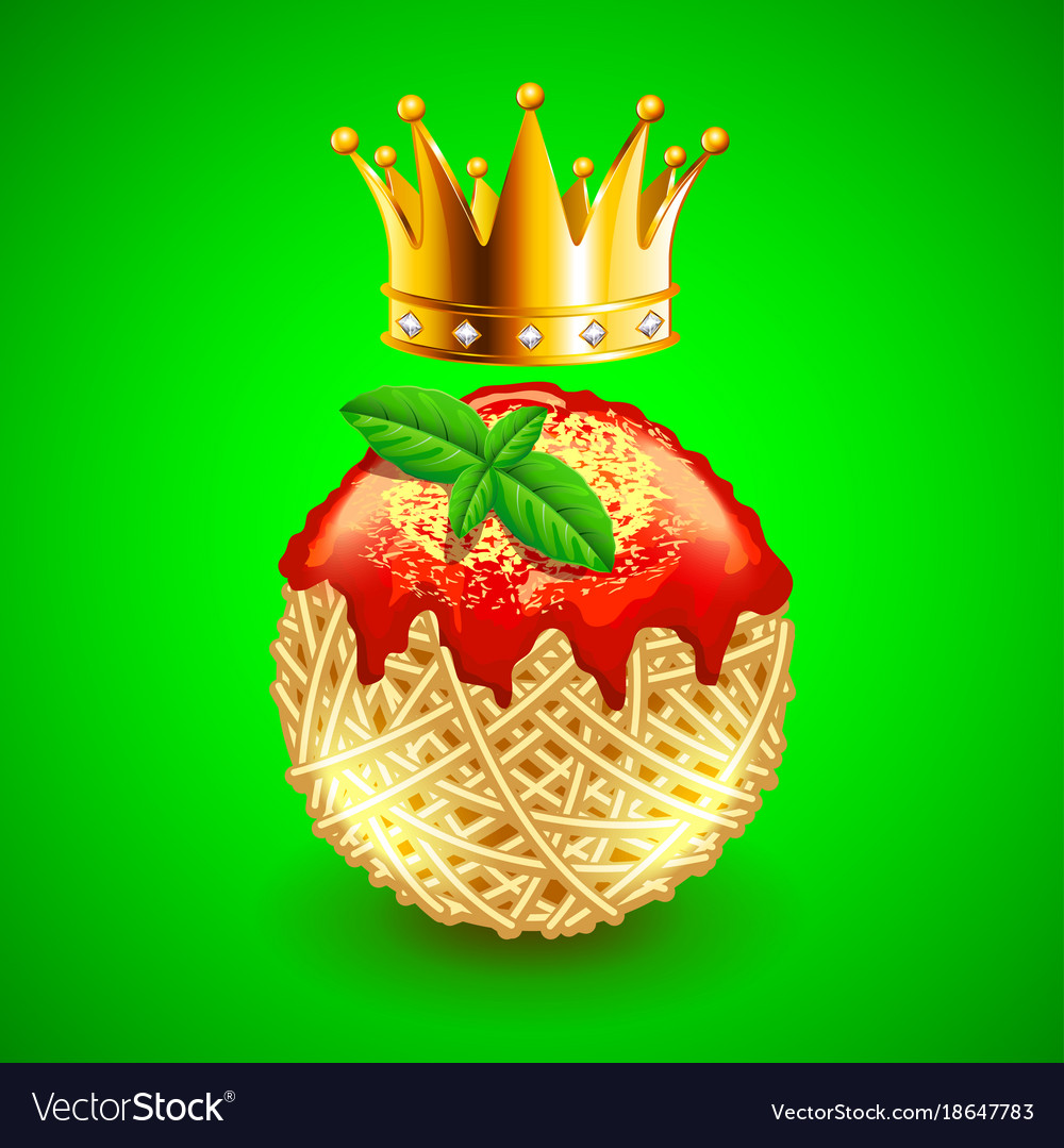 Italian spaghetti clew and crown over it on green