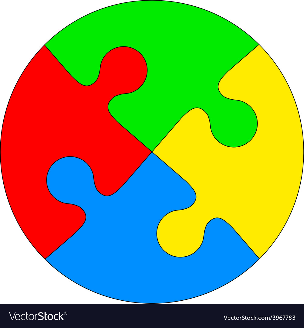 Puzzle circle. Jigsaw in the form