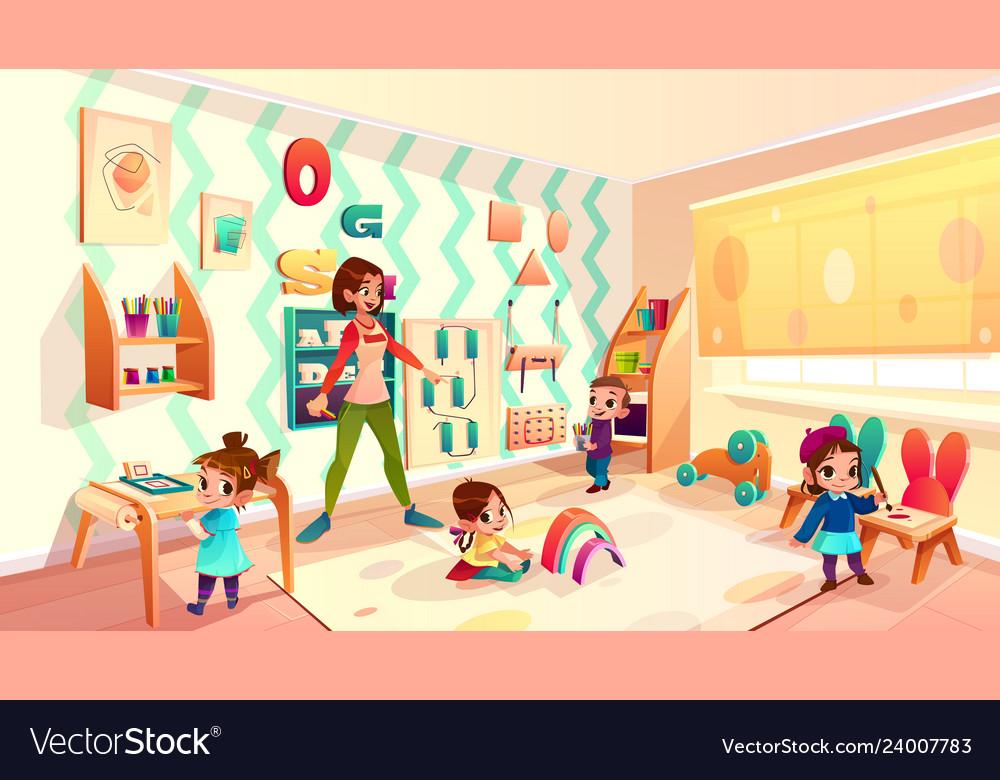 Kids in montessori school classroom cartoon