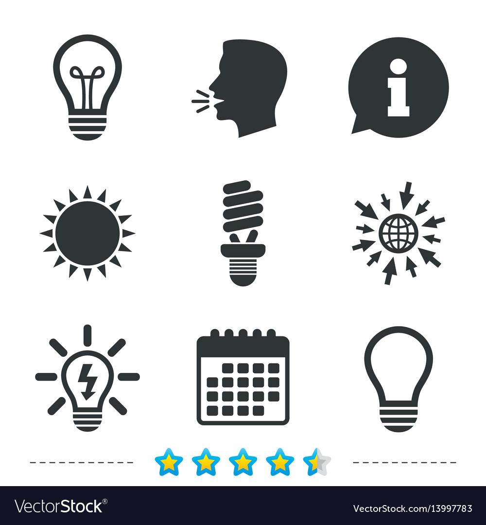 Light lamp icons energy saving symbols