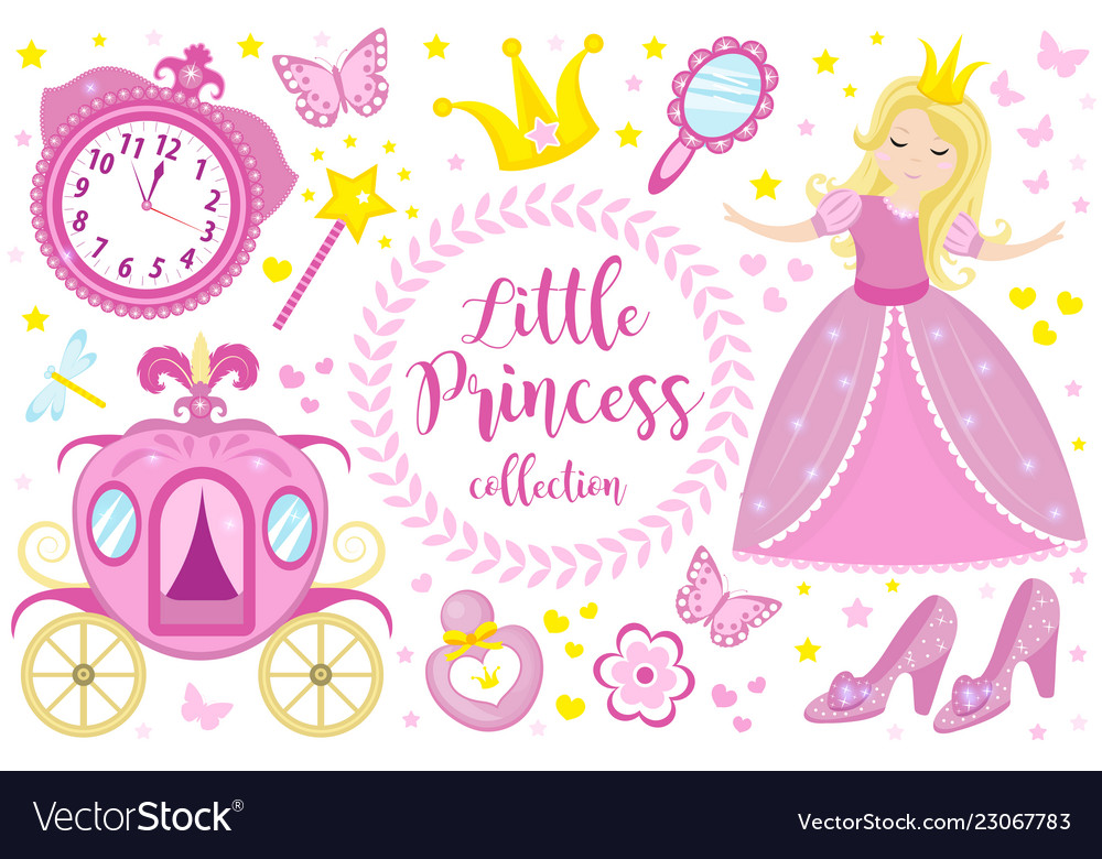 Little princess cute pink set objects icons