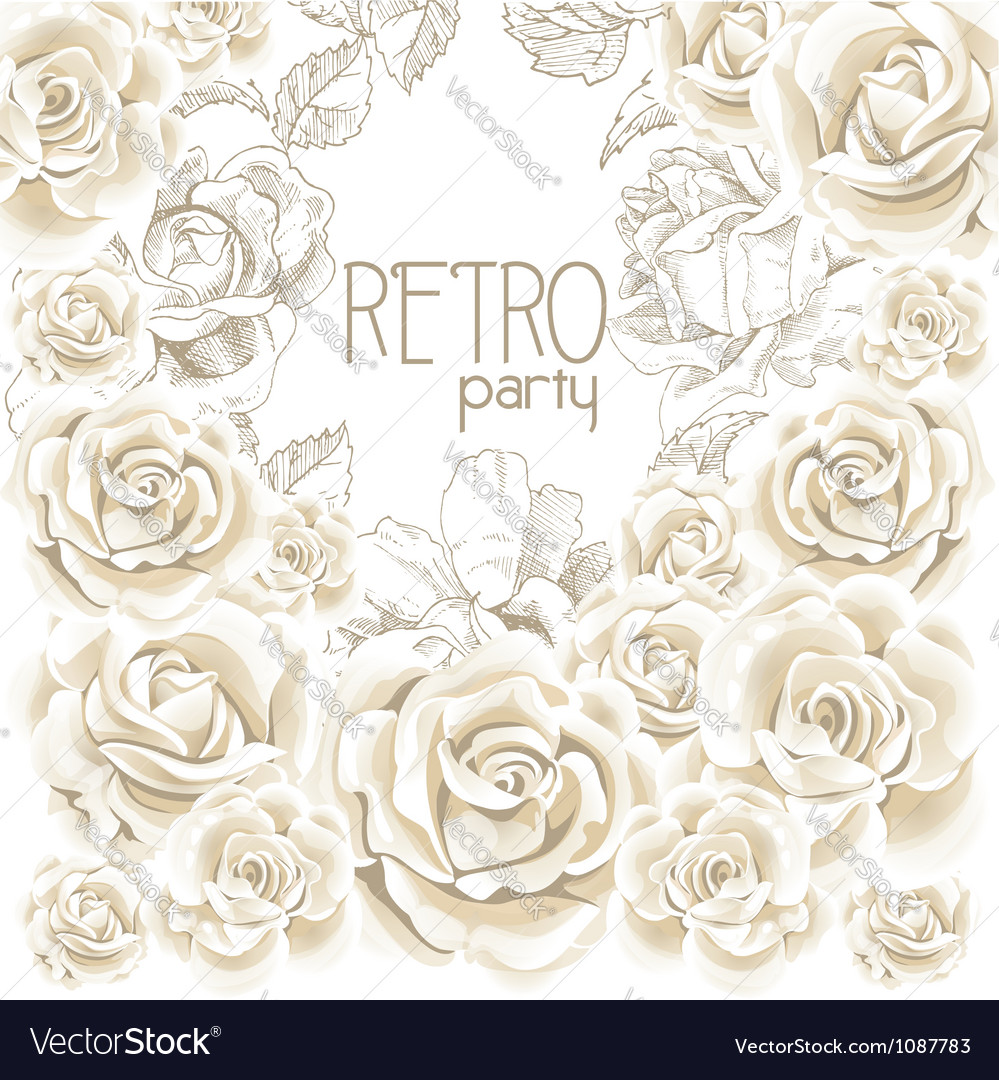 Retro party white flowers background vector image