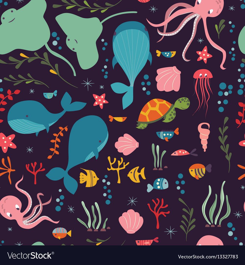 Seamless pattern with underwater ocean animals