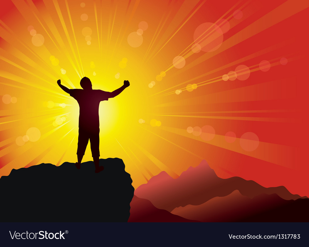 Silhouette of the person on the peak of mountain vector image