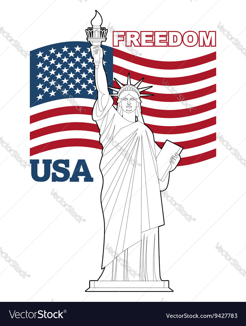 Statue of Liberty and American flag Symbol of