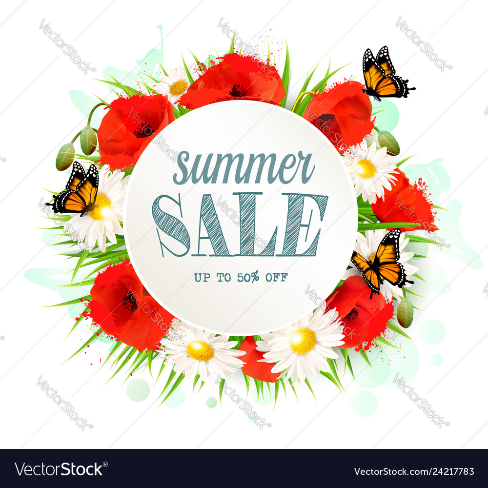 Summer sale background with poppies daisies and