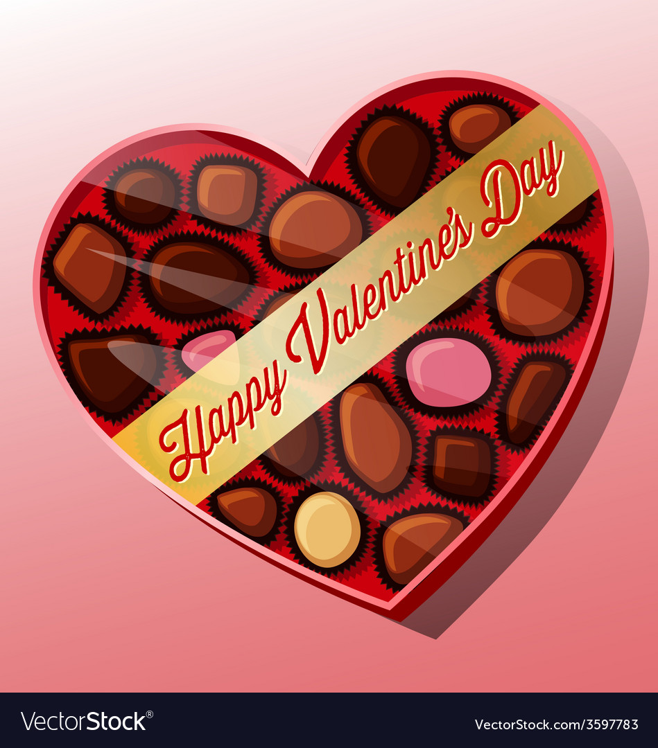 Valentines Day Candy Heart Shaped Box Royalty Free Vector