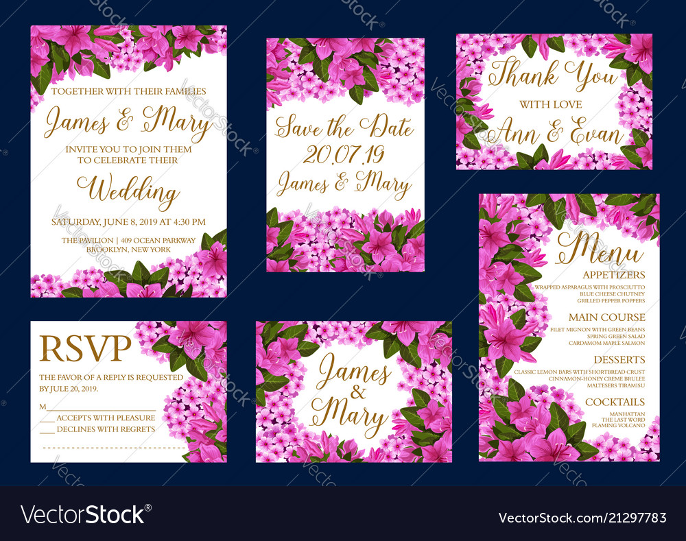 Wedding greeting cards of flowers