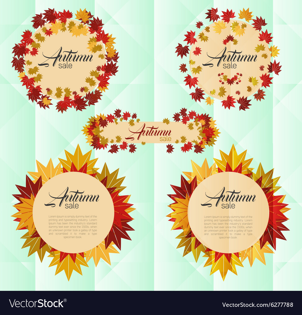 Autumn sale banner with colorful autumn leaves