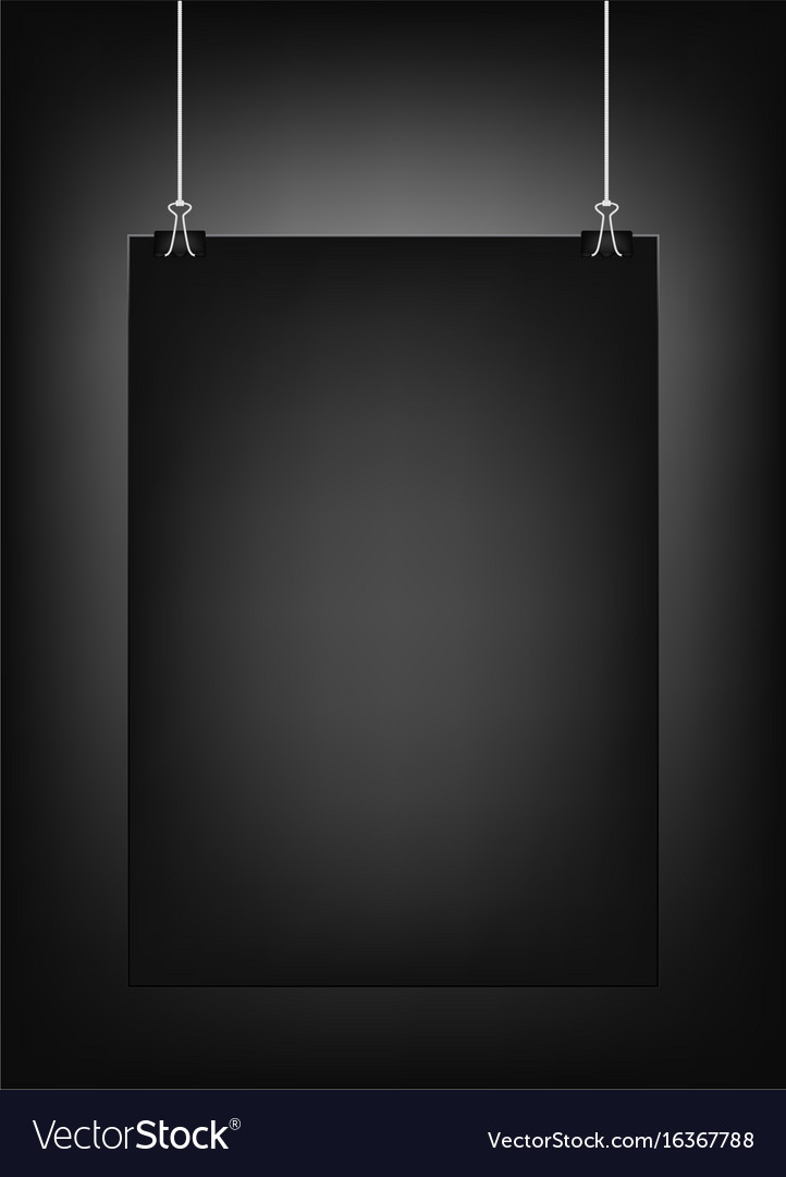 Black Vertical Poster Template Hanging On Clips Vector Image