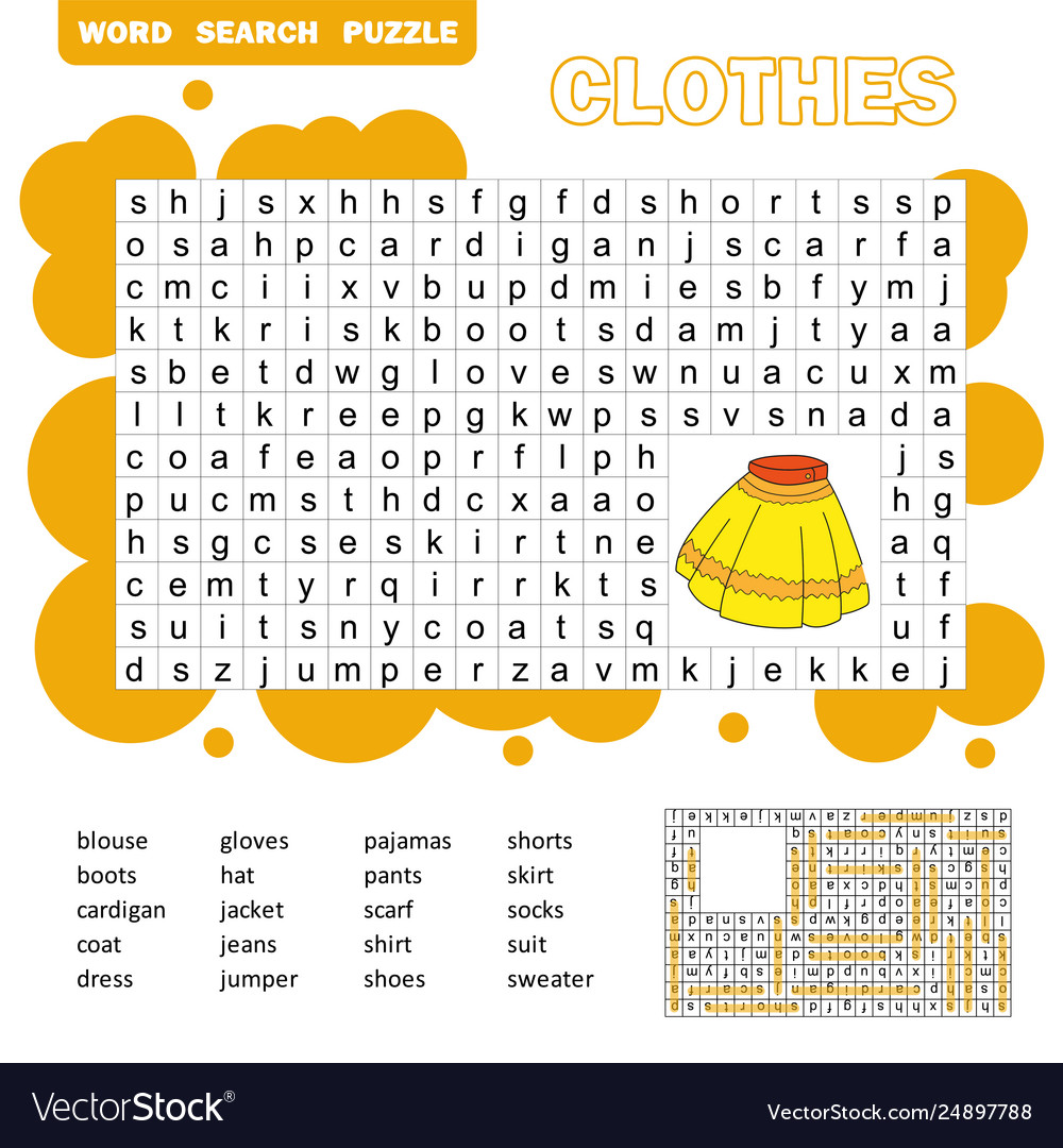 Educational game for kids word search puzzle with