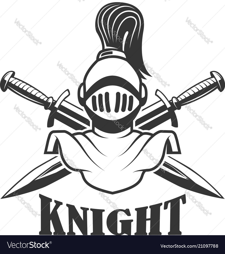 Emblem template with medieval knight helmet