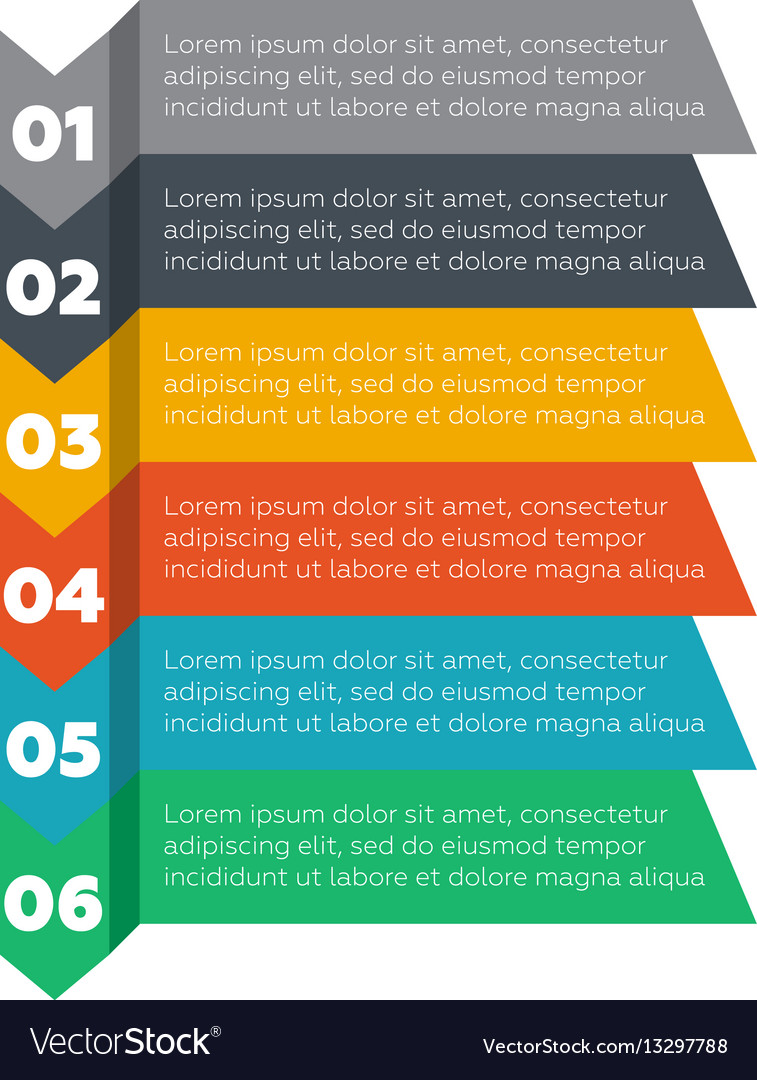 Infographics elements six steps process