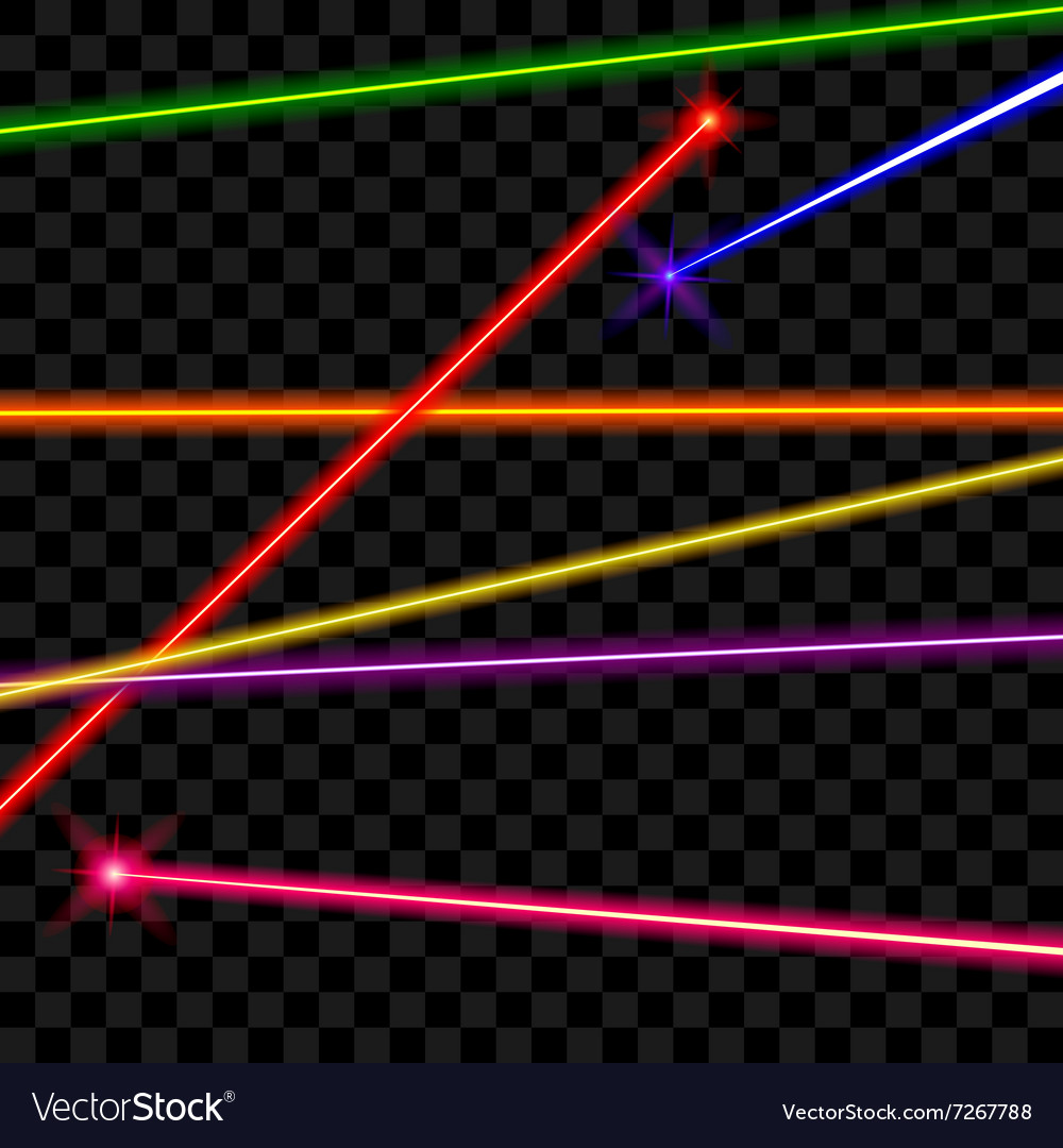 Laser beams on transparent plaid background