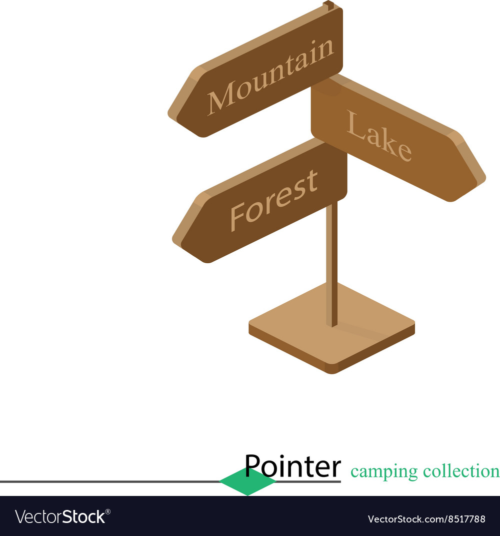 Pointer at the fork of tourism campaign Isometric