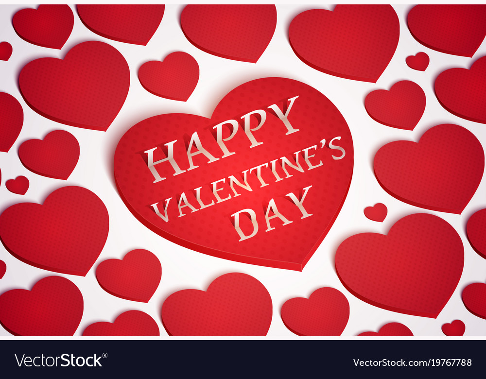 Red heart symbol for greeting card happy valentine